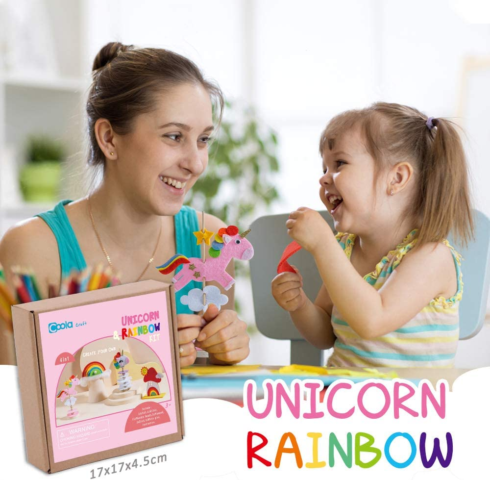 DIY Felt Unicorn Toys for Girls Educational Birthday Gifts for Kids Ages 3-6 No Glue Arts /& Crafts and Fun Home Activities Craft Kit for Kids