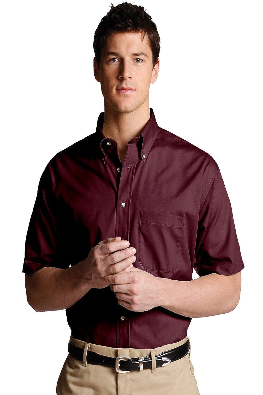 Edwards Garment Mens Big And Tall Button Down Short Sleeve Poplin Shirt/_WINE/_XL