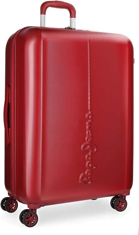 Maleta grande Pepe Jeans Cambridge Roja rígida 70cm