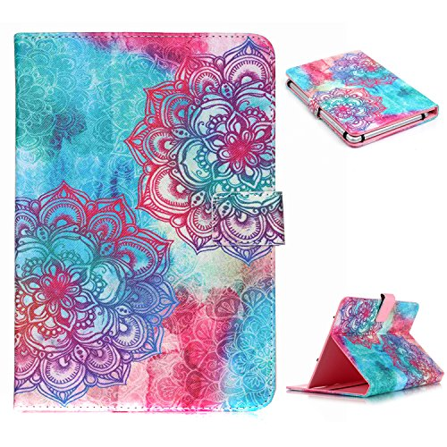 UZZO Universal 7 Inch Blue Pink Flower Pu Leather Stand F...