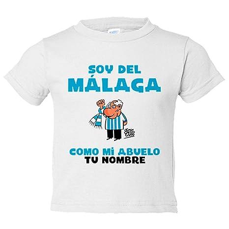 Camiseta niño soy del Málaga como mi abuelo personalizable con nombre - Blanco, 3-