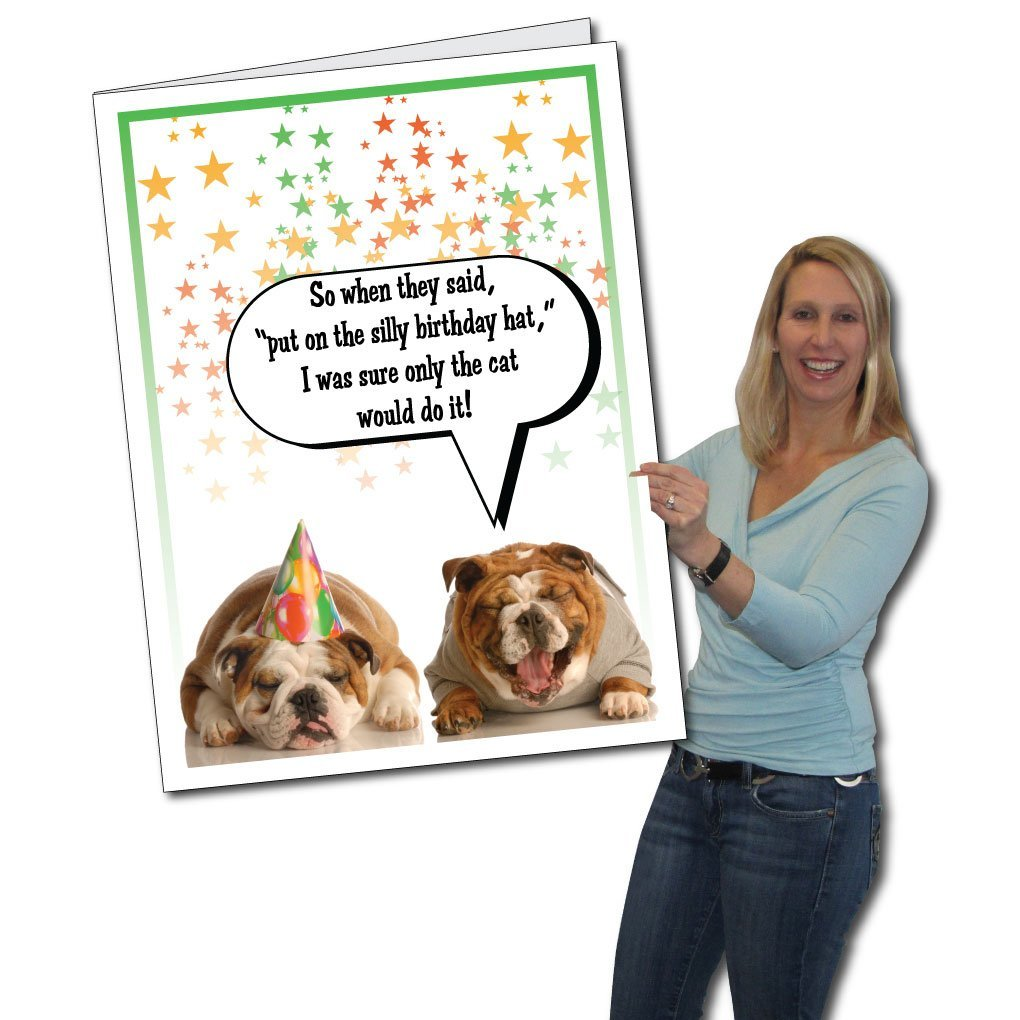 Amazon VictoryStore Jumbo Greeting Cards Giant Birthday Card Two Dogs Partying 2 X 3 With Envelope Kitchen Dining