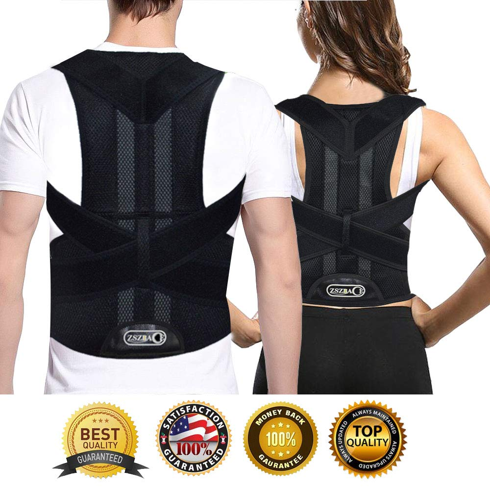 Full Back Support Brace with Removable Dorso-Lumbar Pad - Upper and Lower Back Pain Relief, Thoracic Kyphosis, Rounded Shoulders, Posture Correction (S) by ZSZBACE