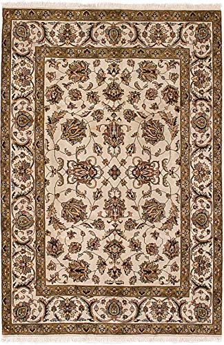 (eCarpet Gallery Area Rug for Living Room, Bedroom | Hand-Knotted Wool Rug | Royal Kashan Bordered Ivory Rug 5'9