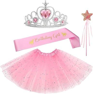 Shinelee Tutu Niña Corona Princesa Niña Vestir Accesorios Faja de ...
