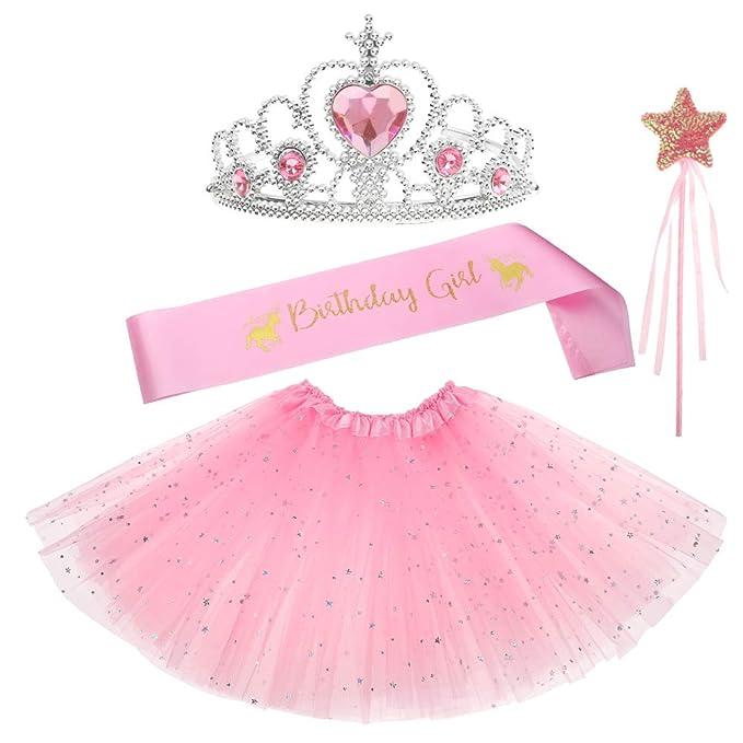 Shinelee Tutu Niña Corona Princesa Niña Vestir Accesorios ...