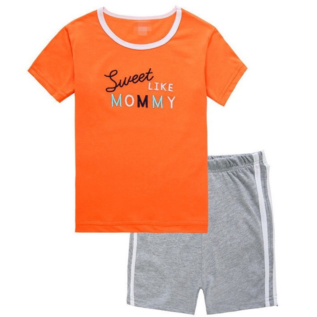 Little Boys Short Sleeve Kids Baby Letter Printed Tops and Pants Outfits