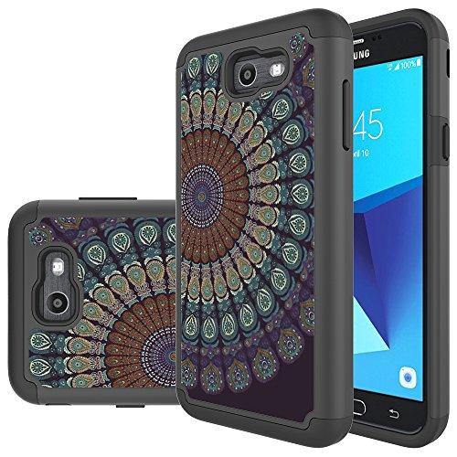 Galaxy J7 V Case, Galaxy J7 2017 Case, Galaxy J7 Sky Pro Case, Galaxy J7 Perx Case, MicroP Hybrid Dual Layer Silicone Plastic Armor Defender Case for Samsung Galaxy J7V 2017 (Black Mandala Flower)