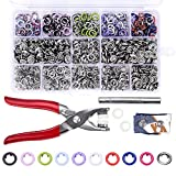 200 Sets Snap Fasteners Kit Tool, Metal Snap Buttons Rings with Fastener Pliers Press Tool Kit for Clothing 10 Colors 9.5mm