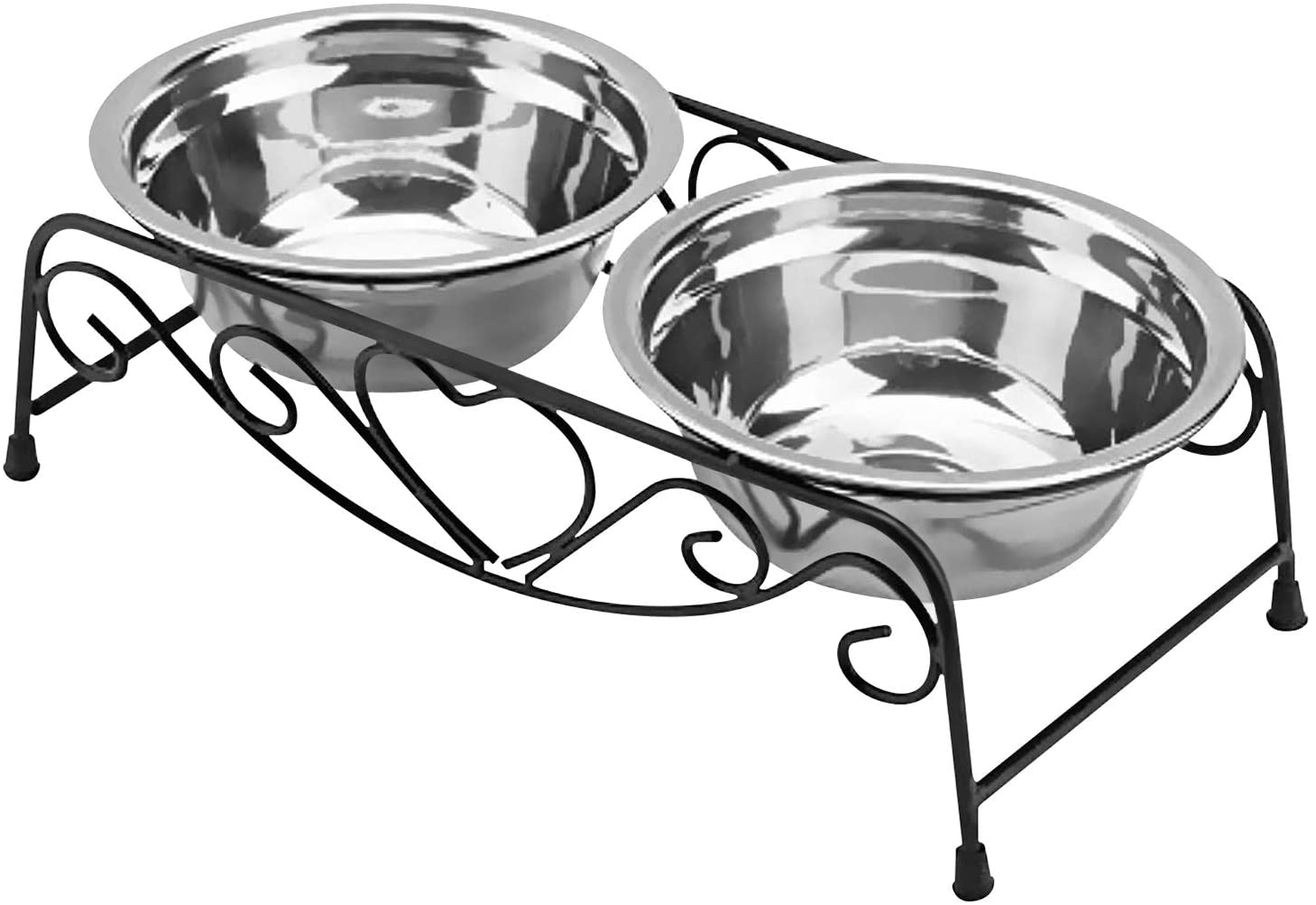 Stainless Steel Raised Pet Bowl wtih Double Dog Cat Food and Water Feeder Dish Retro Iron Elevated Stand