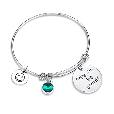 SEIRAA Birthstone Bracelet Enjoy Life Be Yourself Charm Jewelry Expandable Bangle Perfect Birthday Gift
