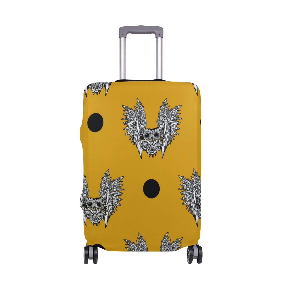 Yellow Background Fashion Skull Traveler Lightweight Rotating Luggage Protector Case Can Carry With You Can Expand Travel Bag Trolley Rolling Luggage Protector Case