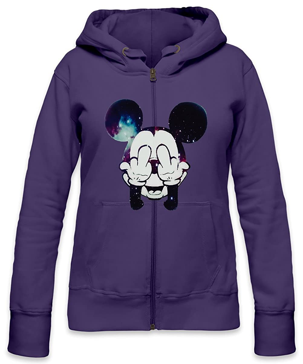 34aead3fd50 Mickey Mouse Fuck Off Womens Zipper Hoodie: Amazon.co.uk: Clothing
