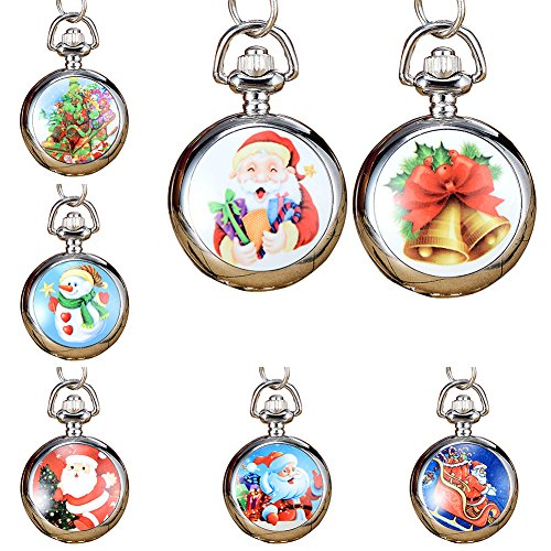 Snowman Christmas Tree Santa Claus Xmas Child Fancy Party Pocket Watch Gift by Gaweb (Image #3)