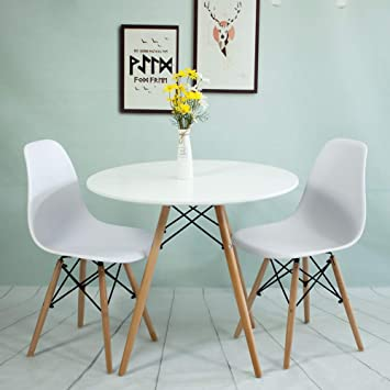 Dining Table And 2 Chairswhite Soild Wooden Round Table 80cm Dining