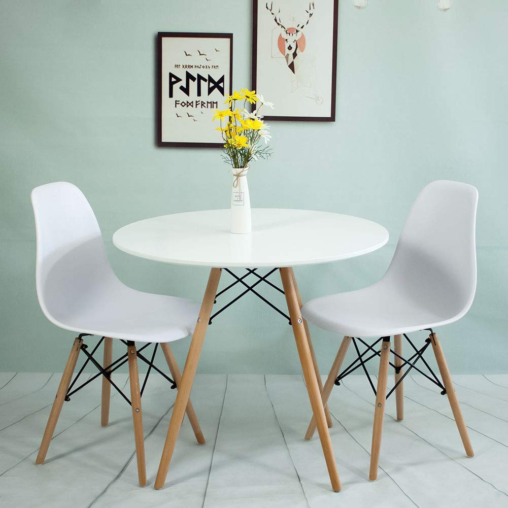 Round Dining Table and Chairs Set of 9, White Wooden Table and 9 ...