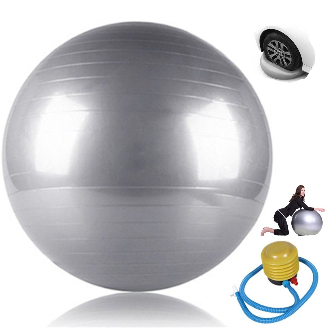 ESport Thick Yoga Ball Set, Exercise Balls with Quick Pump Fitness Stability & Balance - Anti-Burst & Non-Slip 25.6in/65cm by ESport