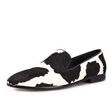 94841d8486a9a HI&HANN Men Loafers with Black and White Stitching Fashion Party and Prom  Men Dress Shoes Smoker Slipper Male's Flats