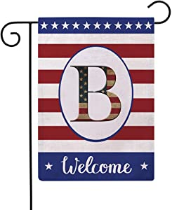 Patriotic Decorative Flag Initial Letter Garden Flags with Monogram B Double Sided American Independence Day Flag Welcome Burlap Garden Flags 12.5×18 Inch for House Yard Patio Outdoor Decor(B)