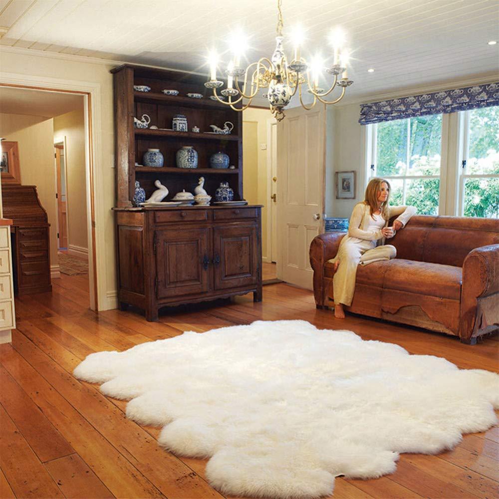 DUANG Webpelz Schaffell Teppich Weich Und Seidig Haar 5-6cm Weiß Für Stuhl Bett Sofa Boden Waschbar,200 × 300cm   78.7
