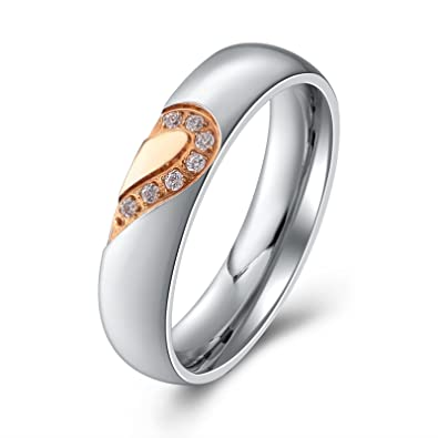 e78e46d6ea Aienid Wedding Rings for Men Women Couple Ring Heart Always Love Hearts  Stainless Steel Bands Black Rose Gold