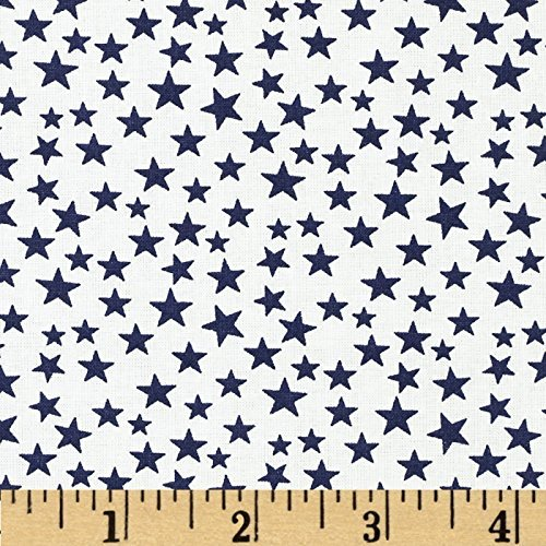 Santee Print Works Made in the USA Stars Navy/White Fabric By The Yard -