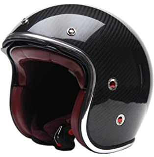 Motorcycle Open Face Carbon Fiber Helmet DOT Approved - YEMA YM-628 Motorbike Moped Jet