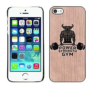 - / Lifting Bull Power Weights Training - - Funda Delgada Cubierta Case Cover de Madera / FOR Apple iPhone 5 5S / Jordan Colourful Shop/