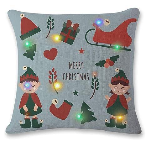 W&Z Funda De Almohada LED De Navidad Impresión Digital Funda ...