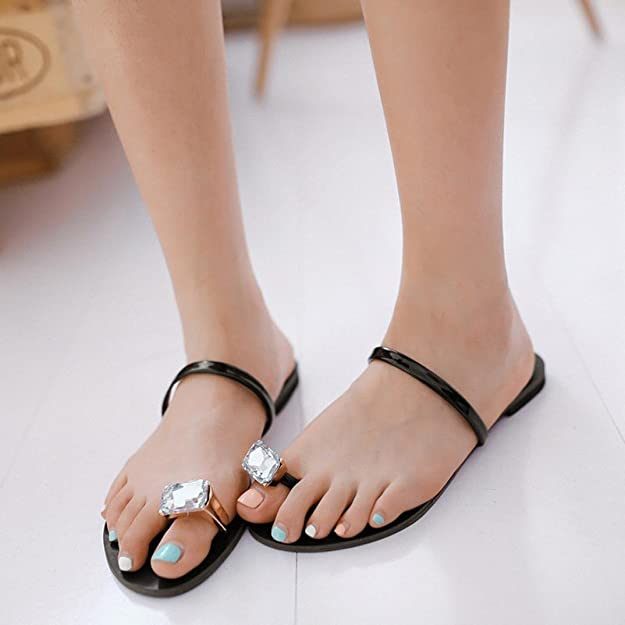 5275fd9f3817b5 Halijack Women Sandals Summer Bohemia Crystal Flat Casual Clip Toe Sandals  Indoor Casual Flat Heel Flip-Flops Outdoor Beach Slippers Shoes Party Prom  ...