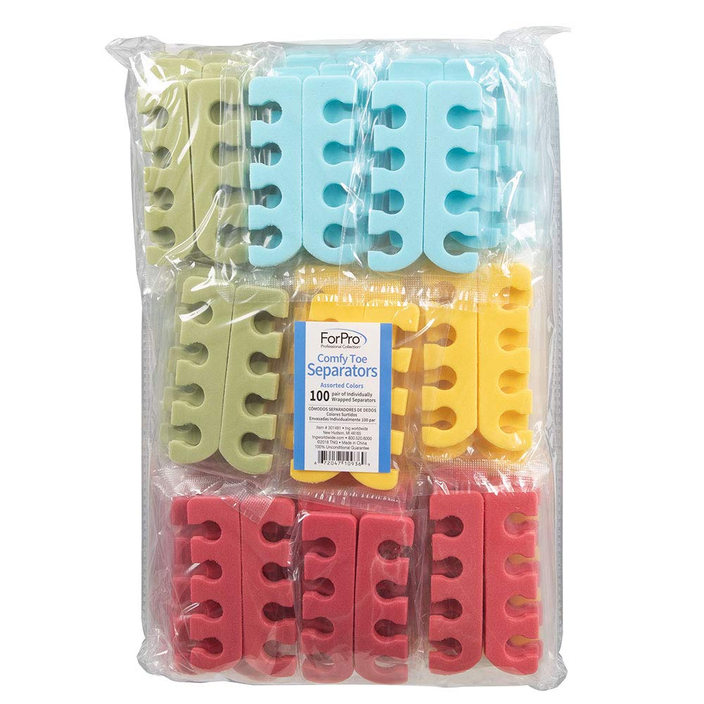 ForPro Comfy Toe Separators, Assorted Colors, Pedicure Toe Separators, 1'' W x 3.5'' L 100-Count by ForPro