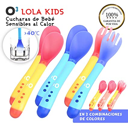 O³ Cucharas Silicona Bebe 6 Uds (4 Cucharas + 2 Tenedores) - 2 Versiones | Cucharas Sensibles Al Calor - Cucharas Silicona Bebé Cambian Color A Más De ...