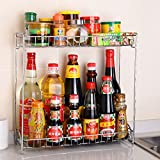 MiniInTheBox Modern Country Style 2 Tier Chrome Stainless Steel Double Spice Rack Turret Rack Kitchen Utensils Storage Organizer Seasoning Bottles Shelf
