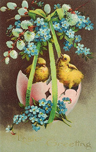 Easter Greetings Scene of Baby Chicks in Broken Egg Shell