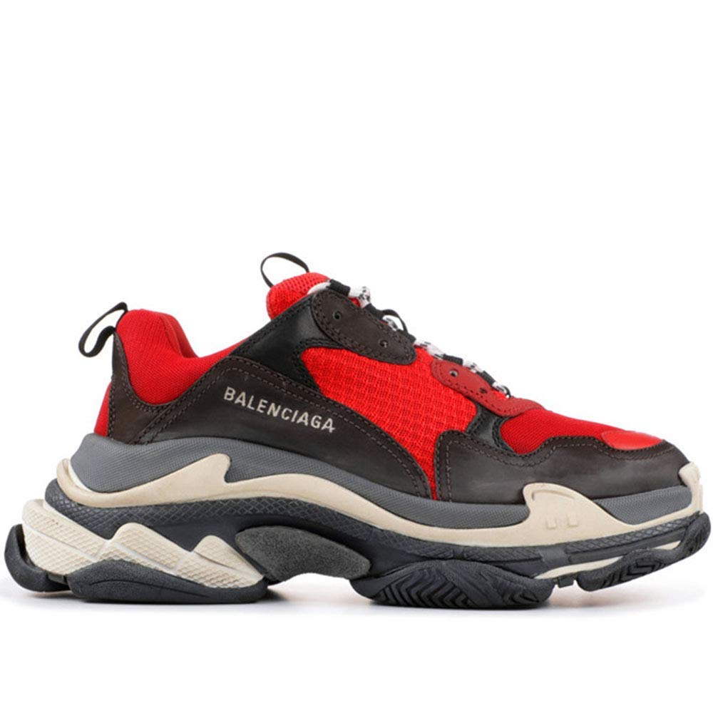 Red Grey LV-GU-belt Balenciaga Men's & Women's (Size 35-45) Triple S grey Clair Mesh Nubuck Leather shoes Black