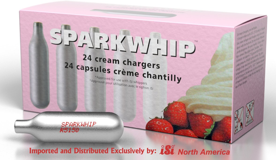 iSi North America Spark Whip Cream Chargers, Silver, Box of 24