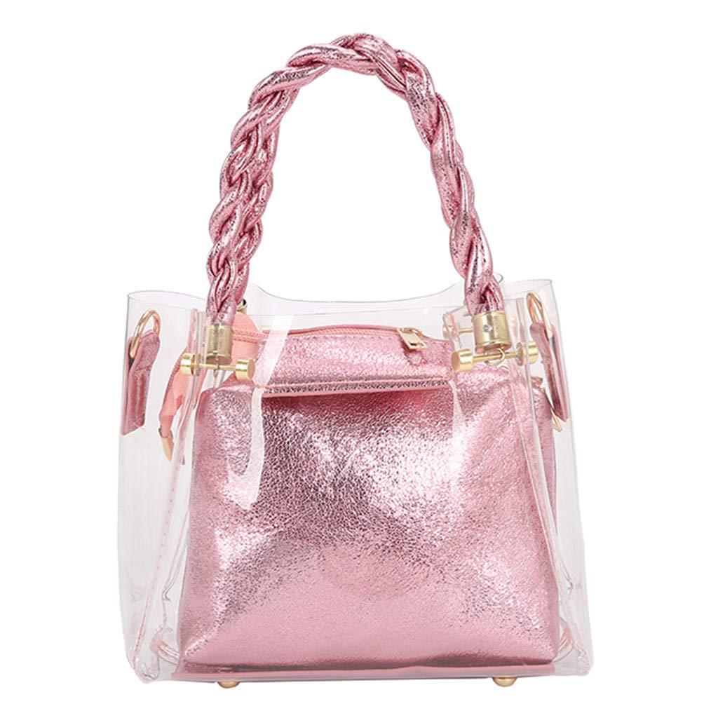 Purses, Travel Day Bag,Fashion Lady Transparent Jelly Wild Woven Portable Messenger Bag Shoulder Bag