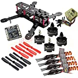 Hobbypower Unassembled DIY 250 Mini 250mm Quadcopter Frame Kit + Hobbypower T2204 2300KV Motor +BLHeli 12A ESC + CC3D FC Flight Controller +5045 Props Propeller
