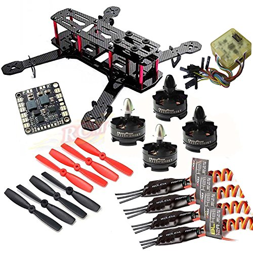 Price comparison product image Hobbypower Unassembled DIY 250 Mini 250mm Quadcopter Frame Kit + Hobbypower T2204 2300KV Motor +BLHeli 12A ESC + CC3D FC Flight Controller +5045 Props Propeller