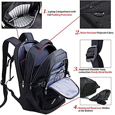 Backpack for Men and Women Fit 17 Inches All 15.6 Inches Laptops Waterproof Shockproof OUTJOY School bag Travel Bag Book bag Business Work Daypack Black from OUTJOY