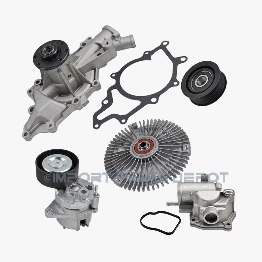 Water Pump Fan Clutch Thermostat Belt Tensioner Idler Pulley Kit (5pcs) for Dodge Freightliner Sprinter 2500 Sprinter 3500 Premium 6472000101/0002005822/6112000215/6112000570/0002020919 New KOOLMAN