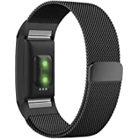 UMTELE for Fitbit Charge 2 Bands Small Large, Milanese Loop Stainless Steel Metal Bracelet Strap with Unique Magnet Lock for Fitbit Charge 2 HR Fitness Tracker