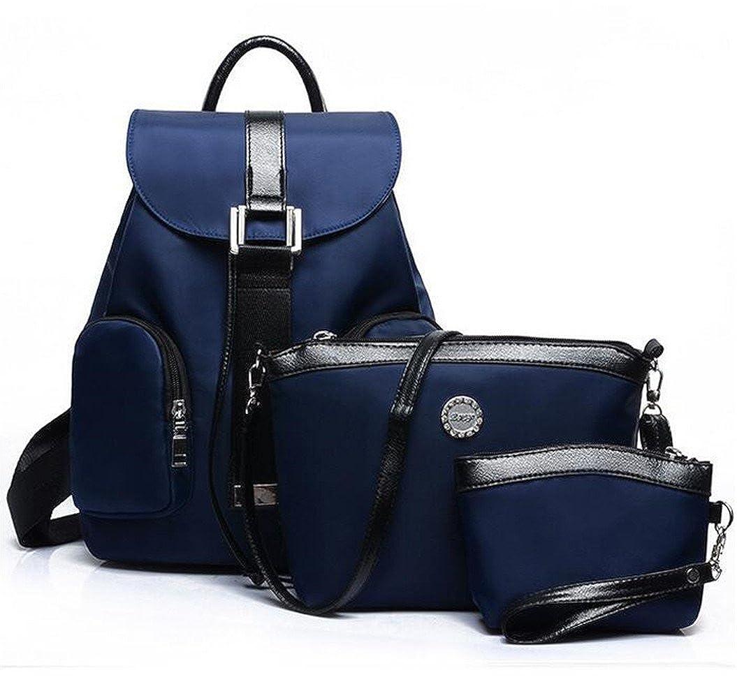 3 Piece Wallet Set Cute Travel Waterproof Nylon Backpack Handbag Purse for Women & Student Girls HTKLY17029-Black