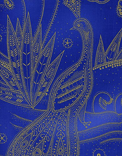 1 Yard Metallic Peacock from Timeless Treasures 100% Cotton Quilt Fabric Lux-CM9690 Cobalt - Lux Quilt