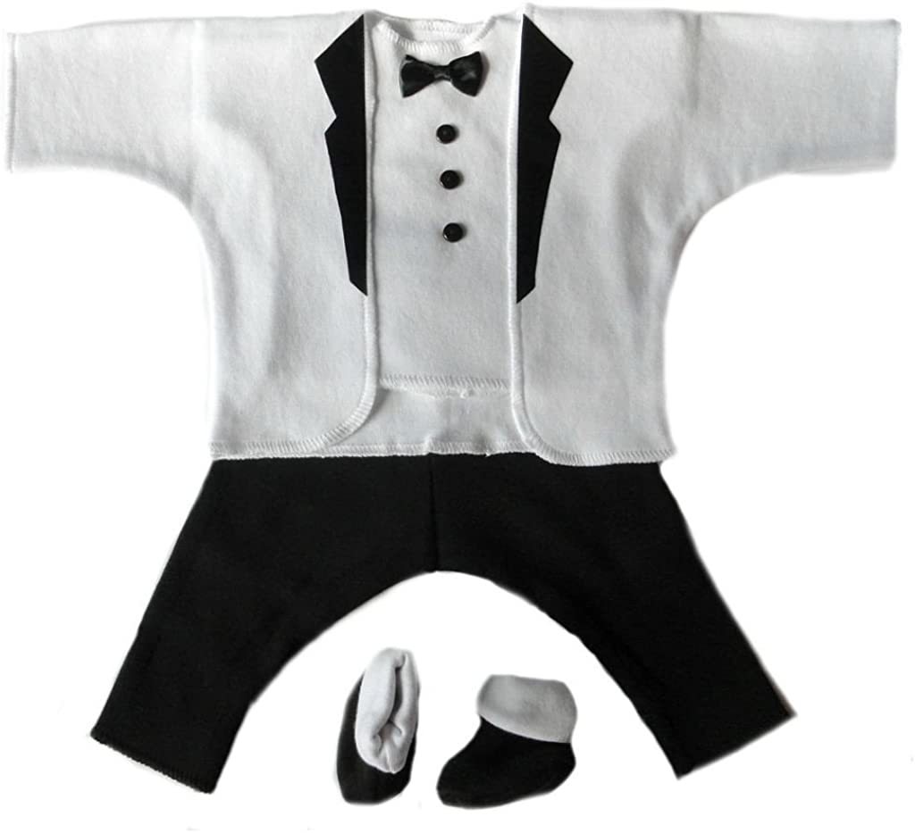 Jacquis Baby Boys Black and White Baby Tuxedo Suit