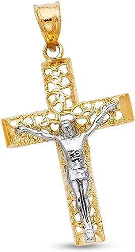 Ladies 14K Yellow Gold Solid Heart Design Crucifix Cross Religious Charm Pendant