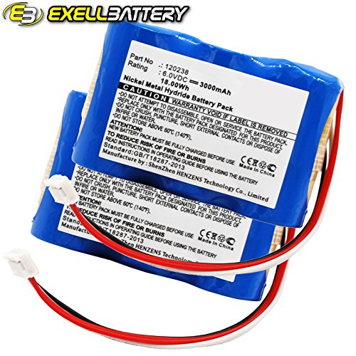 2pc 18V 2000mAh Medical Batteries For GE 30344270 MAC 1200ST MAC1000 MAC1100 by Exell Battery