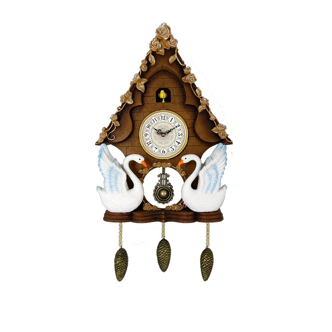 SMC 31.5 Inch Vintage Style Resin Cuckoo Clock, Quiet creative Cuckoo Clock, resin Cuckoo Clock For Living Room, bedroom, dining room(The clock can be both hung on the wall and placed on the table.)