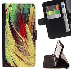 GIFT CHOICE / Billetera de cuero Estuche protector Cáscara Funda Caja de la carpeta Cubierta Caso / Wallet Case for Samsung ALPHA G850 // Oil Painting Stroke Pattern //