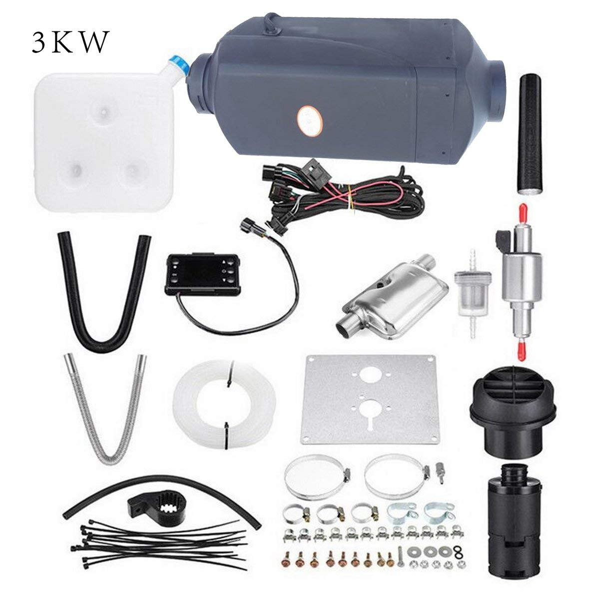 silenziatore Serbatoio riscaldatore aria diesel-nero Riscaldatore diesel aria 3KW 12V planare LCD per autocarri Barche camper-case